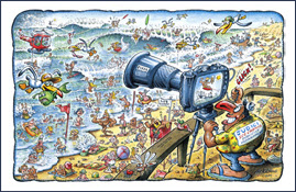 BIG SURF CARTOON LE GURP by cartoonist Nick Lyons
